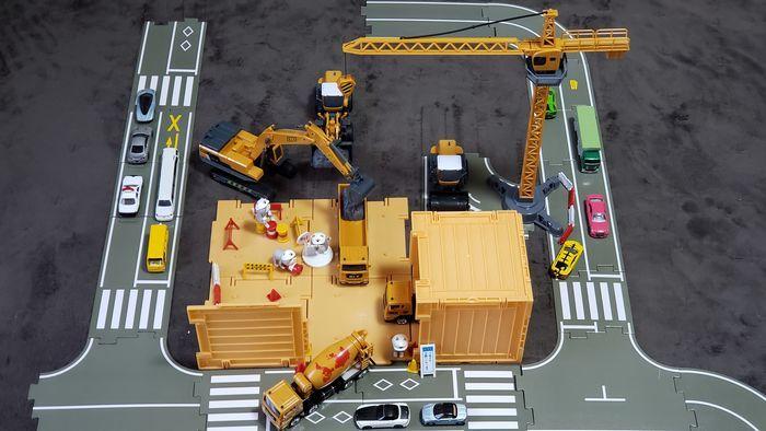 建設車両セットを組み立てた状態