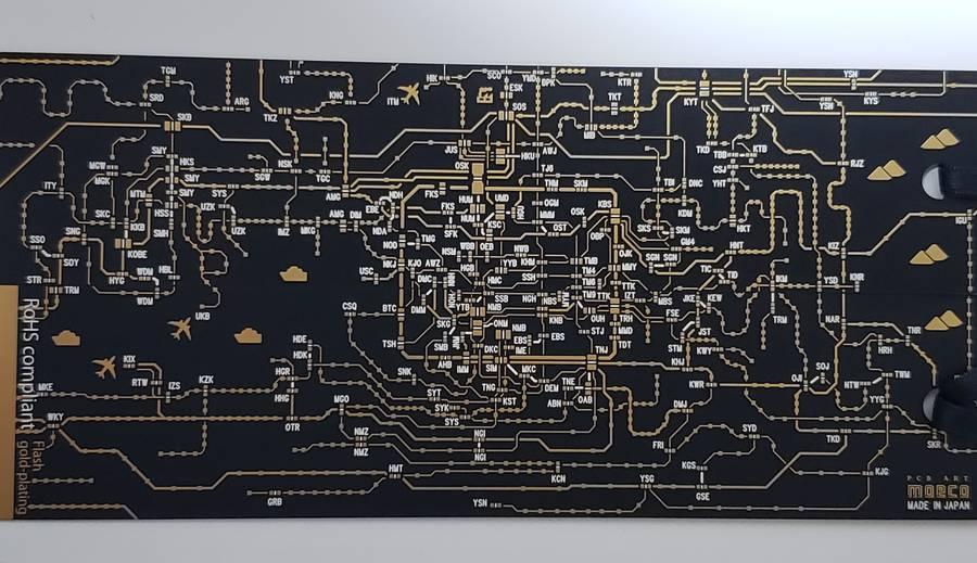 関西の路線図が描かれた栞